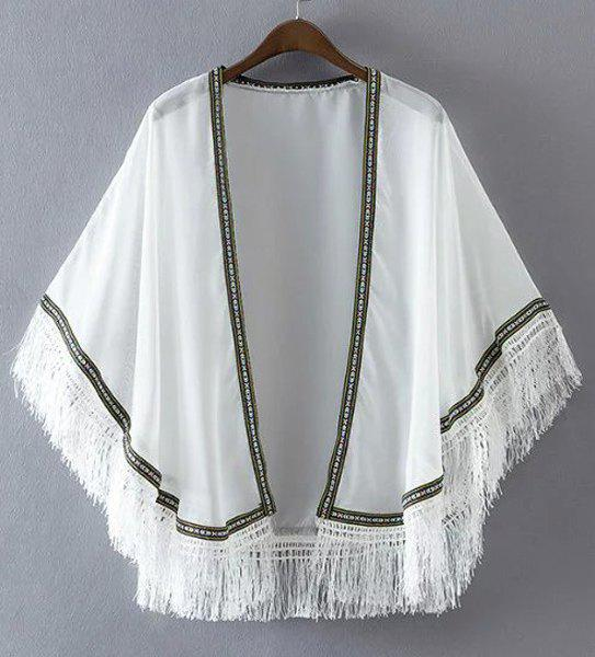Trendy Collarless Batwing Sleeve Embroidery Tassels Women's Kimono - WHITE ONE SIZE(FIT SIZE XS TO M)