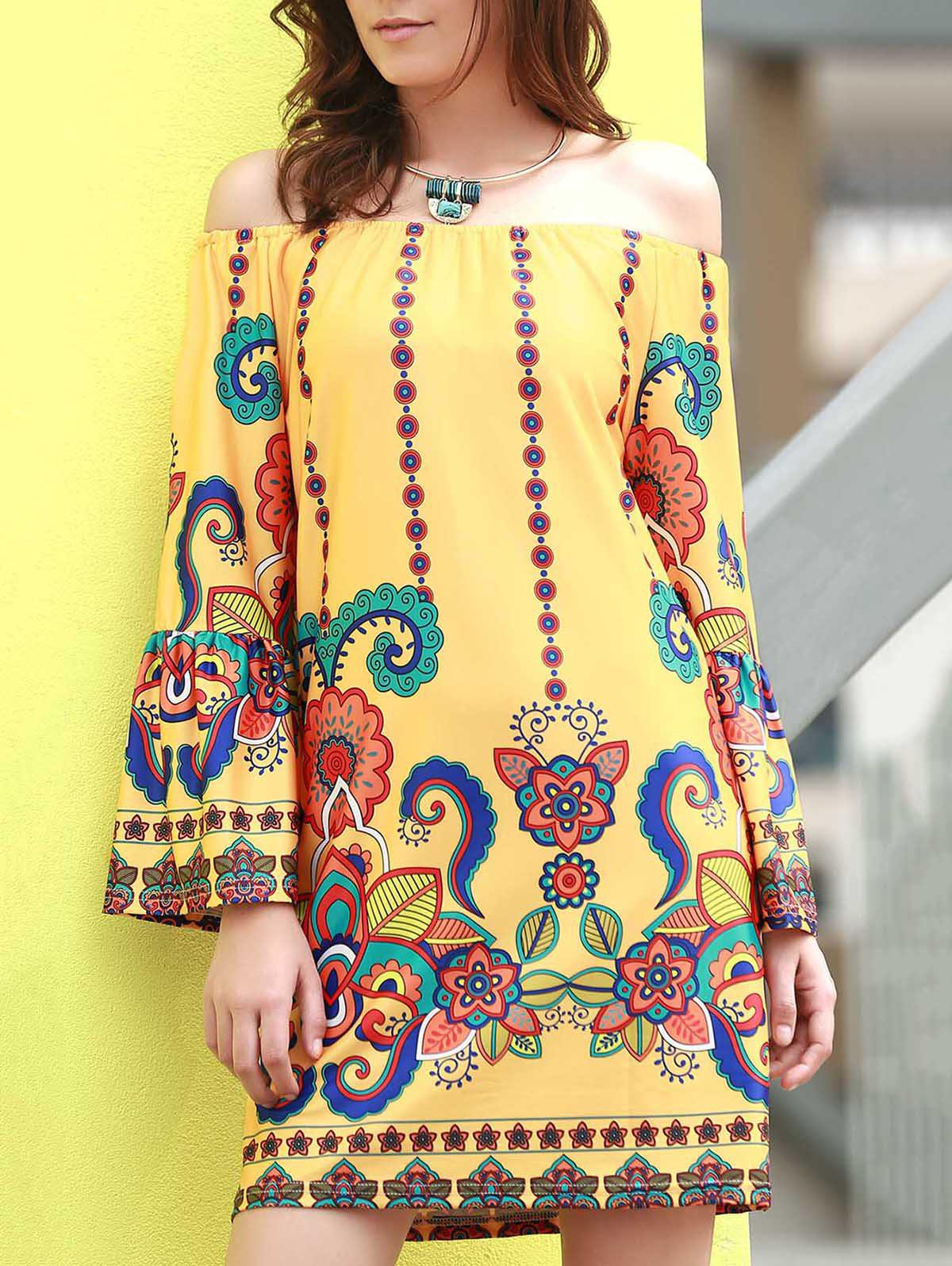 Fashionable Women's Off The Shoudler  Long Sleeve Print A-Line Dress - YELLOW M
