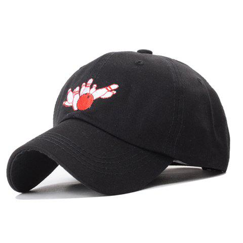 Trendy Bowling Embroidery Solid Color Baseball Hat For Women - BLACK