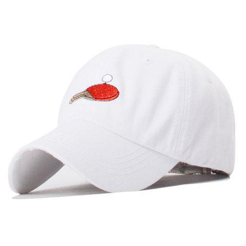 Trendy Table Tennis and Racket Embroidery Solid Color Baseball Hat For Women - WHITE