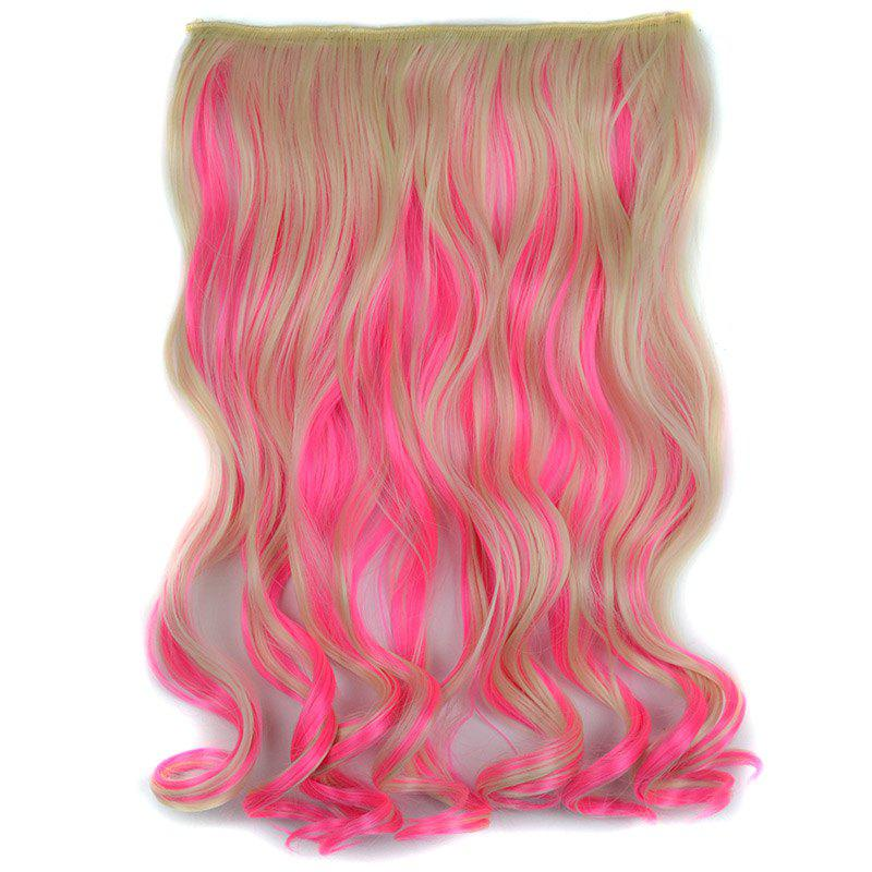 Stylish Light Blonde Mixed Pink Synthetic Shaggy Curly Long Clip In Women's Hair Extension - COLORMIX