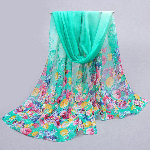 Chic Tiny Floral Pattern Sun Resistant Women's Chiffon Scarf - LAKE GREEN