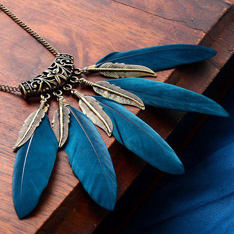 Punk Style Faux Feather Leaf Sweater Chain For Women