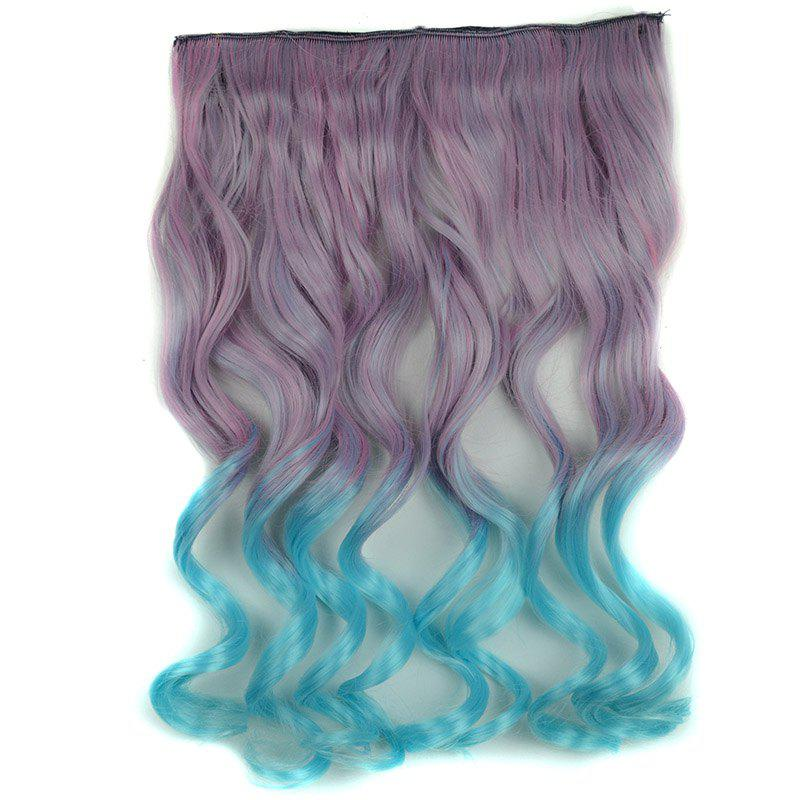 Fluffy Long Curly Synthetic Fashion Clip In Dark Purple Ombre Azure Hair Extension For Women - COLORMIX