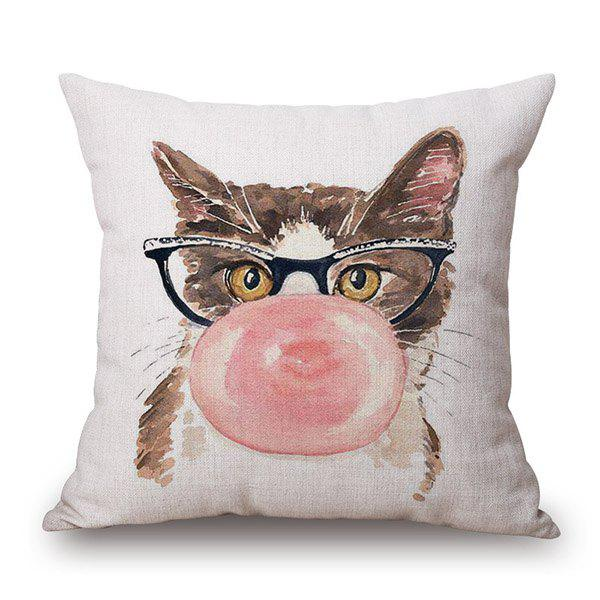 Stylish Bubble Gum Kitten Pattern Square Shape Flax Pillowcase (Without Pillow Inner) - COLORMIX