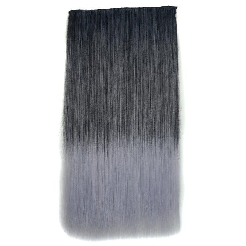 Stylish Black Ombre Grandma Ash Synthetic Long Silky Straight Hair Extension For Women - OMBRE
