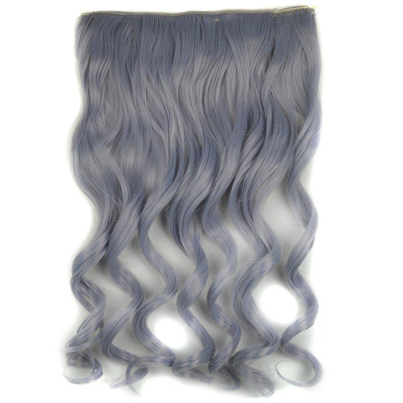 Prevailing Light Grandma Ash Synthetic Shaggy Curly Long Women's Hair Extension - LIGHT GRAY