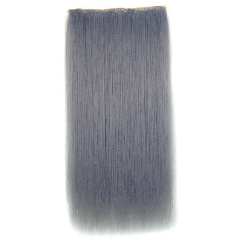 Attractive Light Grandma Ash Clip In Long Silky Straight Synthetic Hair Extension For Women - LIGHT GRAY
