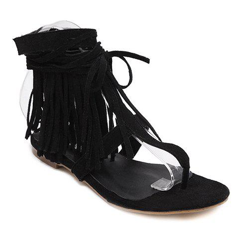 Casual Fringe and Lace-Up Design Women's Sandals - BLACK 38