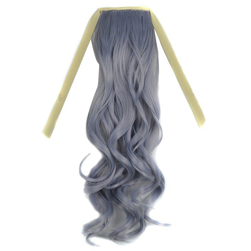 Fluffy Curly Capless Fashion Long Light Grandma Ash Synthetic Ponytail For Women