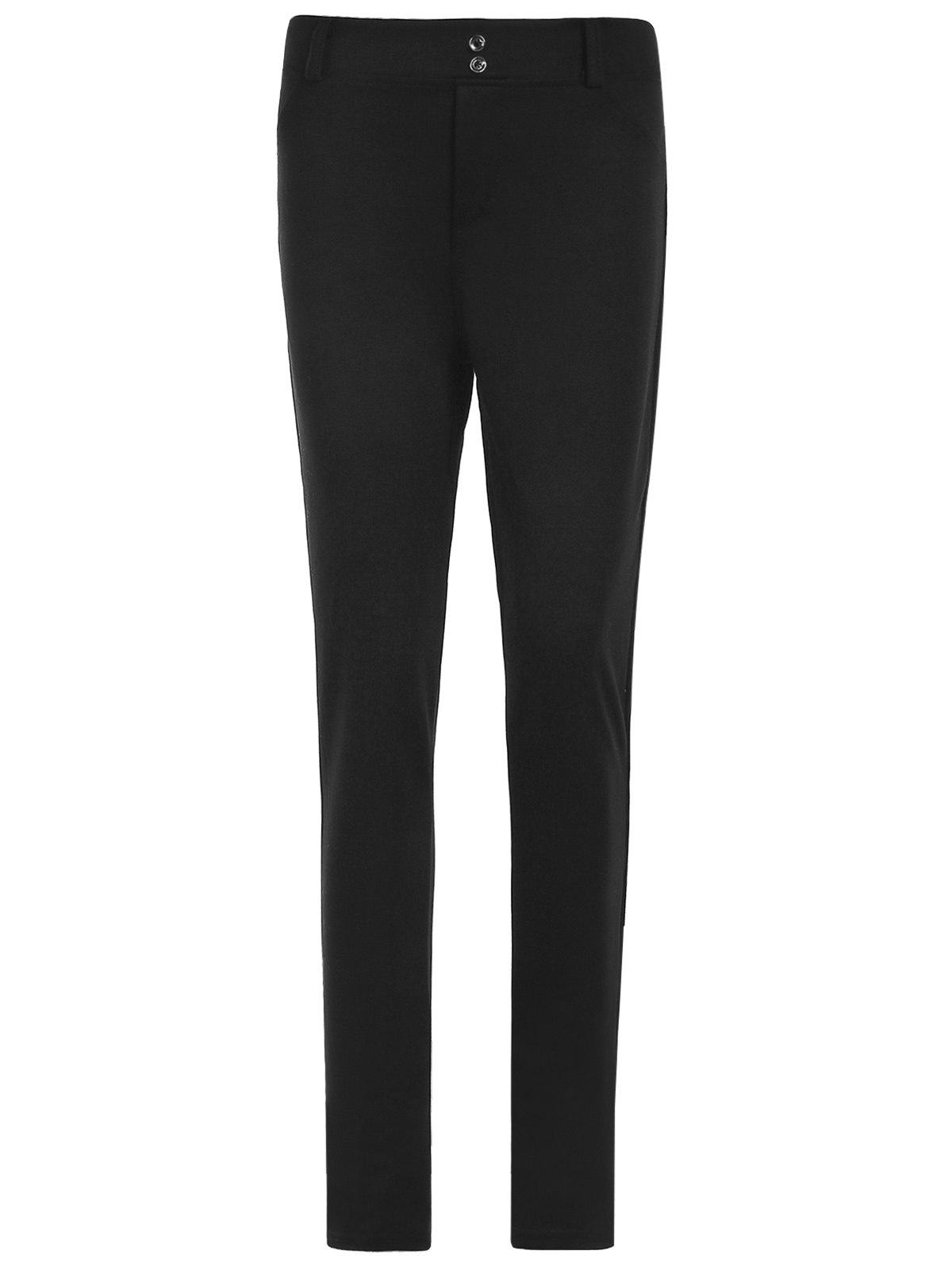 Attractive Pure Color Mid Waist Bodycon Leggings For Women - BLACK L