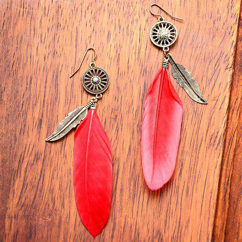Pair of Vintage Alloy Feather Leaf Earrings For Women