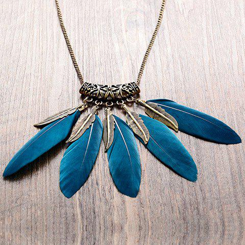 Chic Faux Feather Leaf Sweater Chain For Women