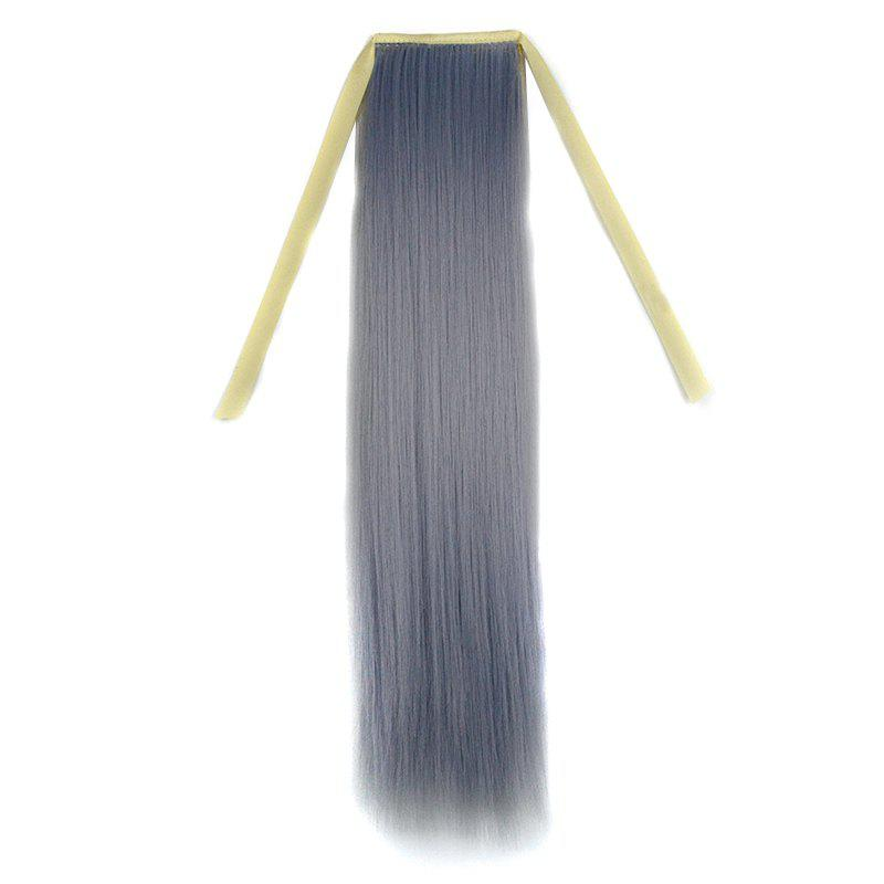 Stylish Silky Straight Long Capless Light Grandma Ash Synthetic Ponytail For Women - LIGHT GRAY