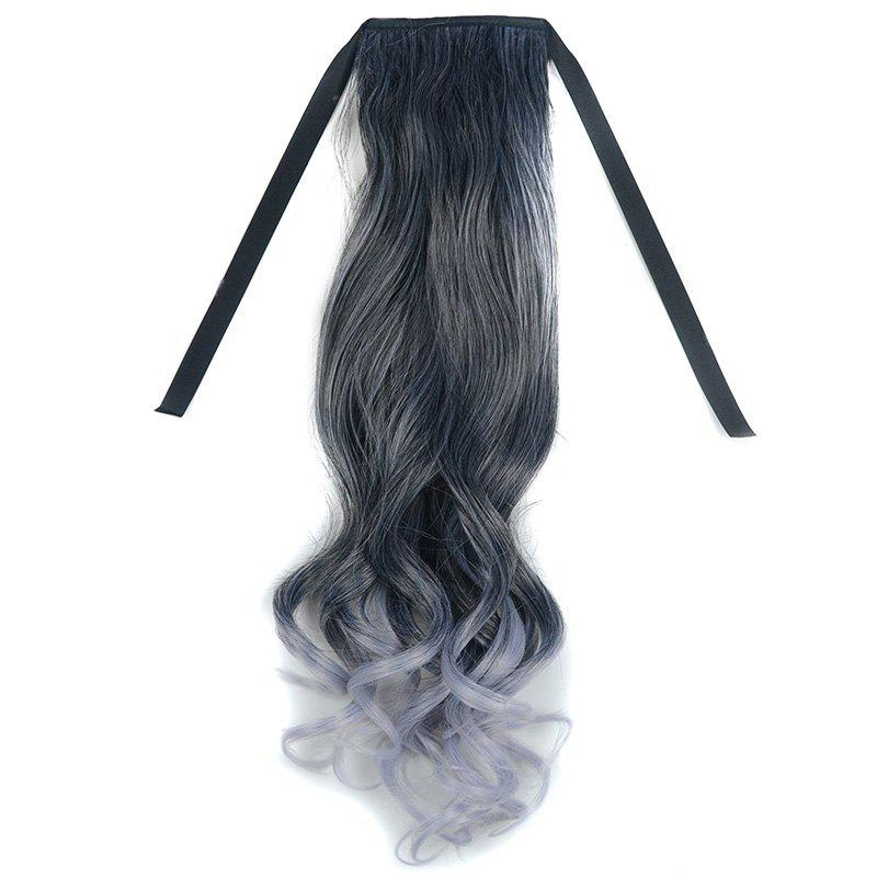 Prevailing Black Ombre Grandma Ash Synthetic Long Silky Straight Women's Capless Ponytail - BLACK/GREY