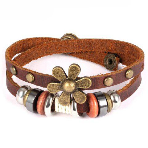Vintage Faux Leather Flower Bracelet For Men