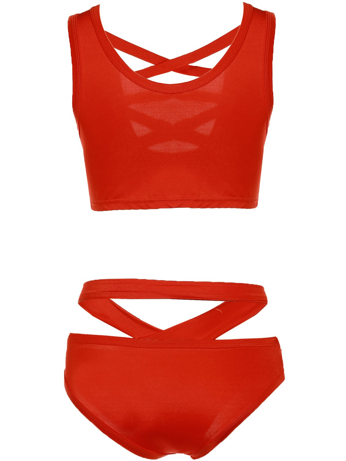 Trendy Pure Color Hollow Out Bikini For Women - RED S