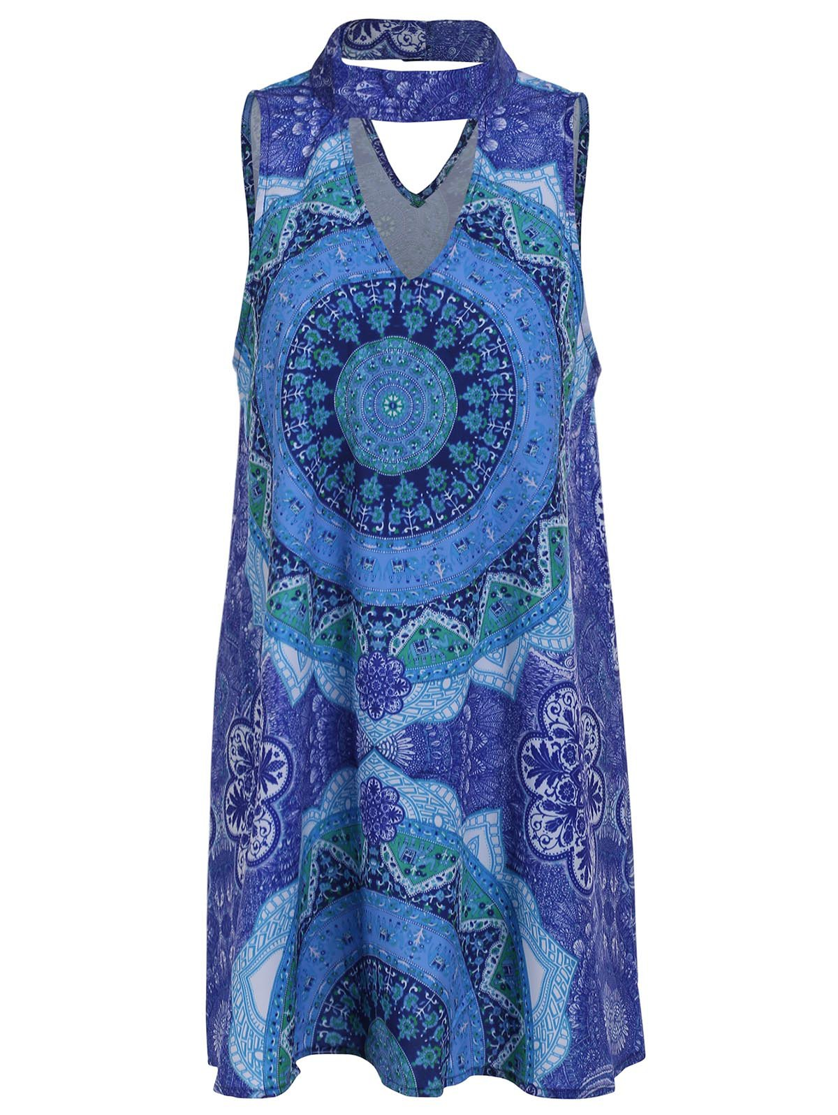 Retro Style Sleeveless Stand Collar Hollow Out Printed Women's Dress - COLORMIX M