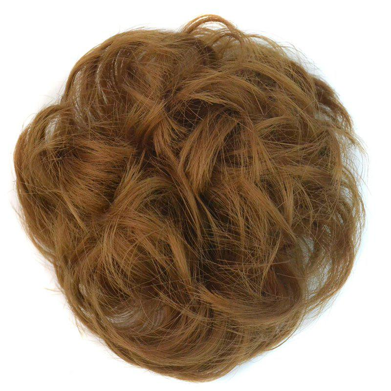 Fashion Heat Resistant Fiber Bouffant Curly Bun Capless Chignons - GOLDEN BLONDE