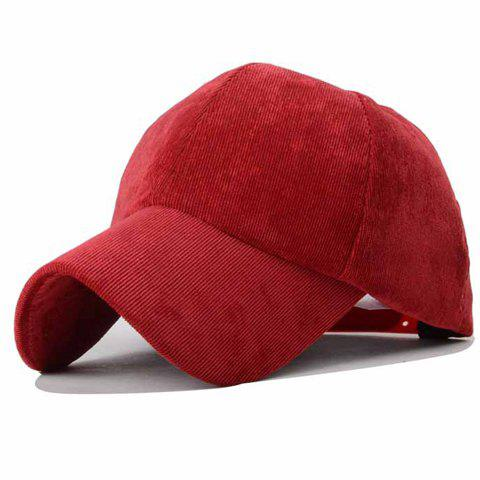 Trendy Solid Color Corduroy Baseball Hat - WINE RED