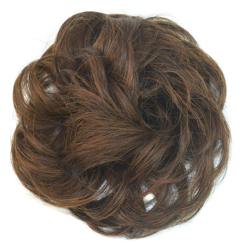 Shaggy Curly Capless Heat Resistant Fiber Stylish Dark Brown Mixed Chignons For Women - COLORMIX