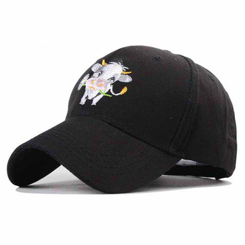 Trendy Cartoon Dairy Cow Embroidery Solid Color Baseball Hat For Women - BLACK