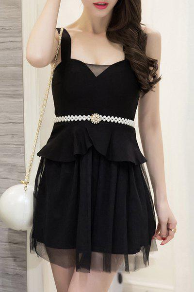 Trendy Sleeveless Beading Mesh Design Women's Dress - BLACK M