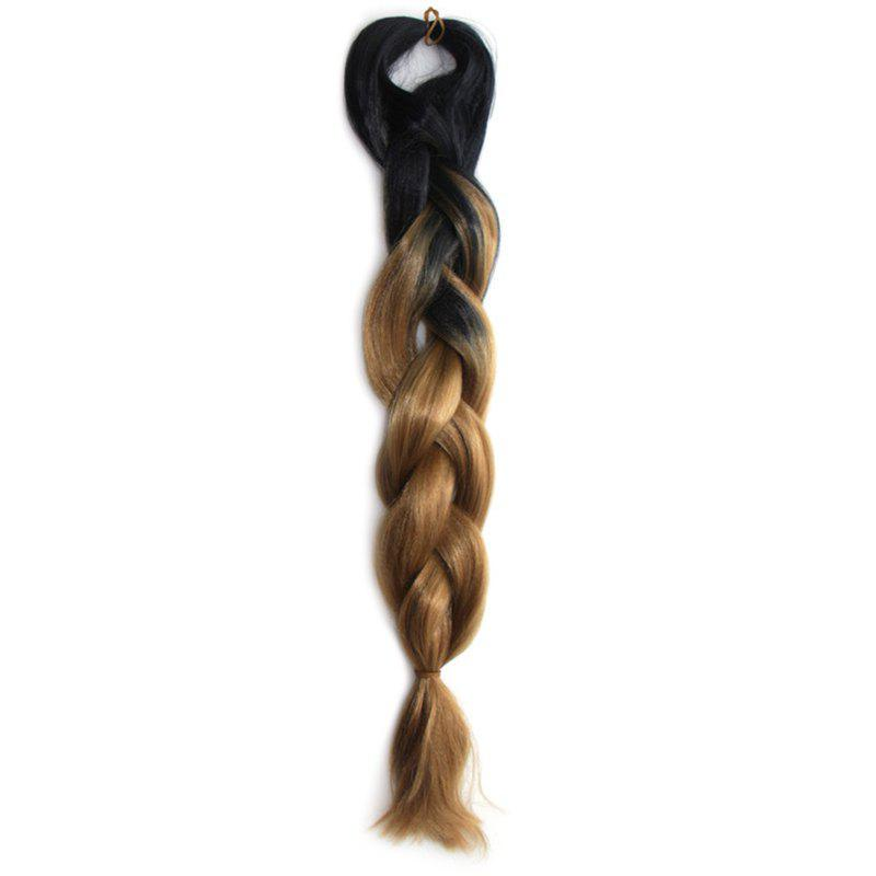 Outstanding Black Brown Ombre Long Heat Resistant Fiber Capless Braided Hair Extension For Women - BLACK/GREEN