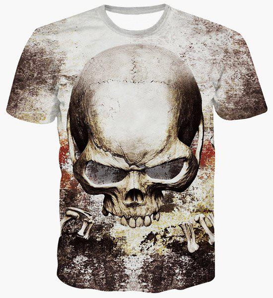 Fashion Skull Printing Pullover T-Shirt For Men - COLORMIX S