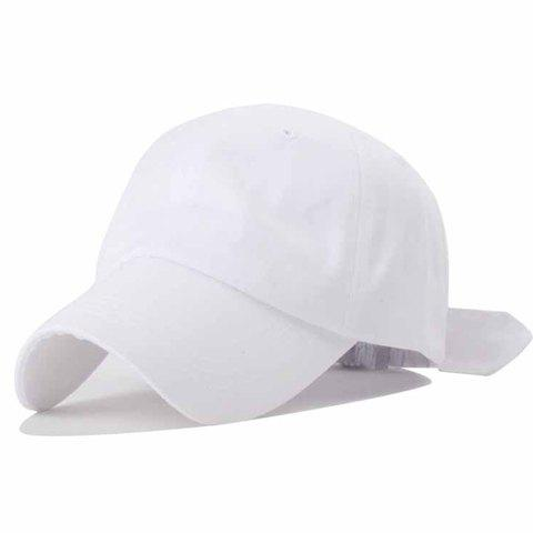 Trendy Bowknot Decorated Solid Color Baseball Hat For Women - WHITE