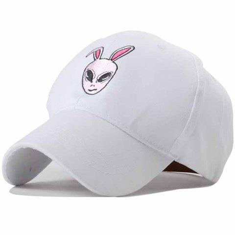 Chic Cartoon Rabbit Head Embroidery Women's Baseball Cap - WHITE