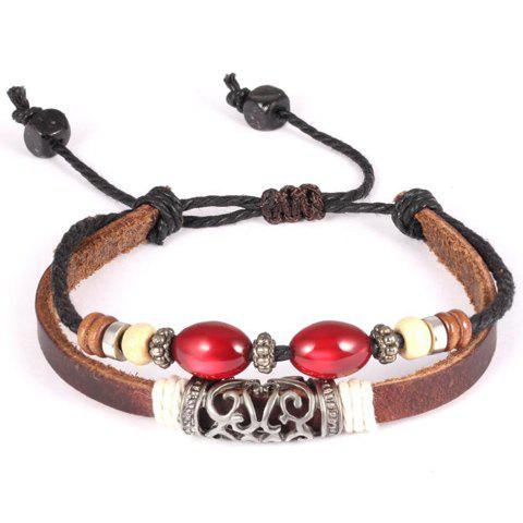 Delicate Faux Leather Hollow Out Bracelet For Men - BROWN