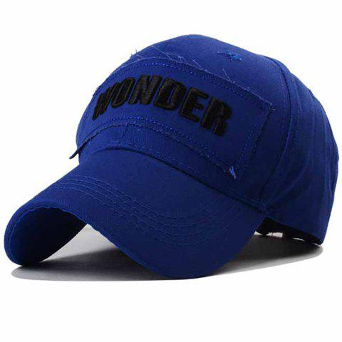 Stylish Letter Shape Embroidery and Rag Embellished Men's Baseball Cap - SAPPHIRE BLUE