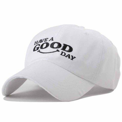 Chic Blessings Embroidery Solid Color Baseball Hat For Women - WHITE