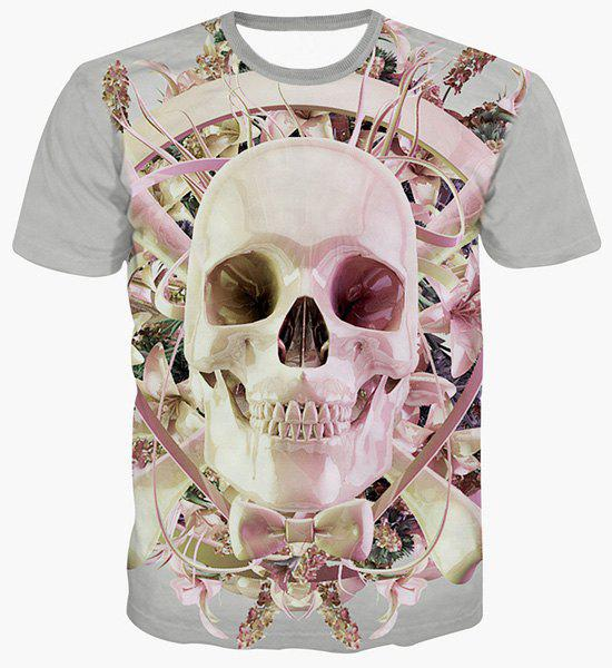 Fashion Skull Printing Pullover Round Collar T-Shirt For Men - COLORMIX XL