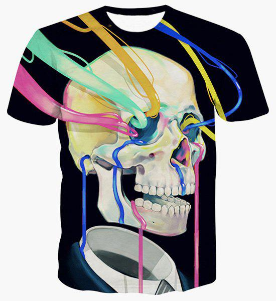 Fashion Skull Printing Pullover Color Strip T-Shirt For Men - BLACK S