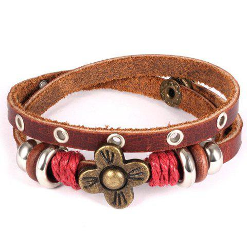 Sweet Faux Leather Flower Bracelet For Women - BROWN