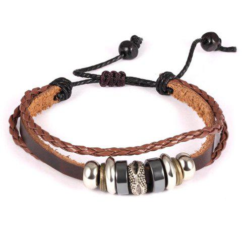 Chic Faux Leather Woven Bracelet For Men - BROWN
