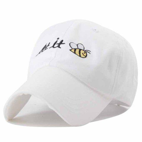 Chic Cartoon Bee Letters Embroidery Solid Color Baseball Hat For Men - WHITE