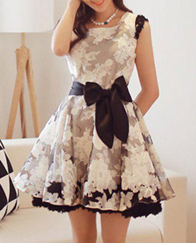 Trendy Lace Hit Color Jewel Neck Bowknot Decorated Dress For Women