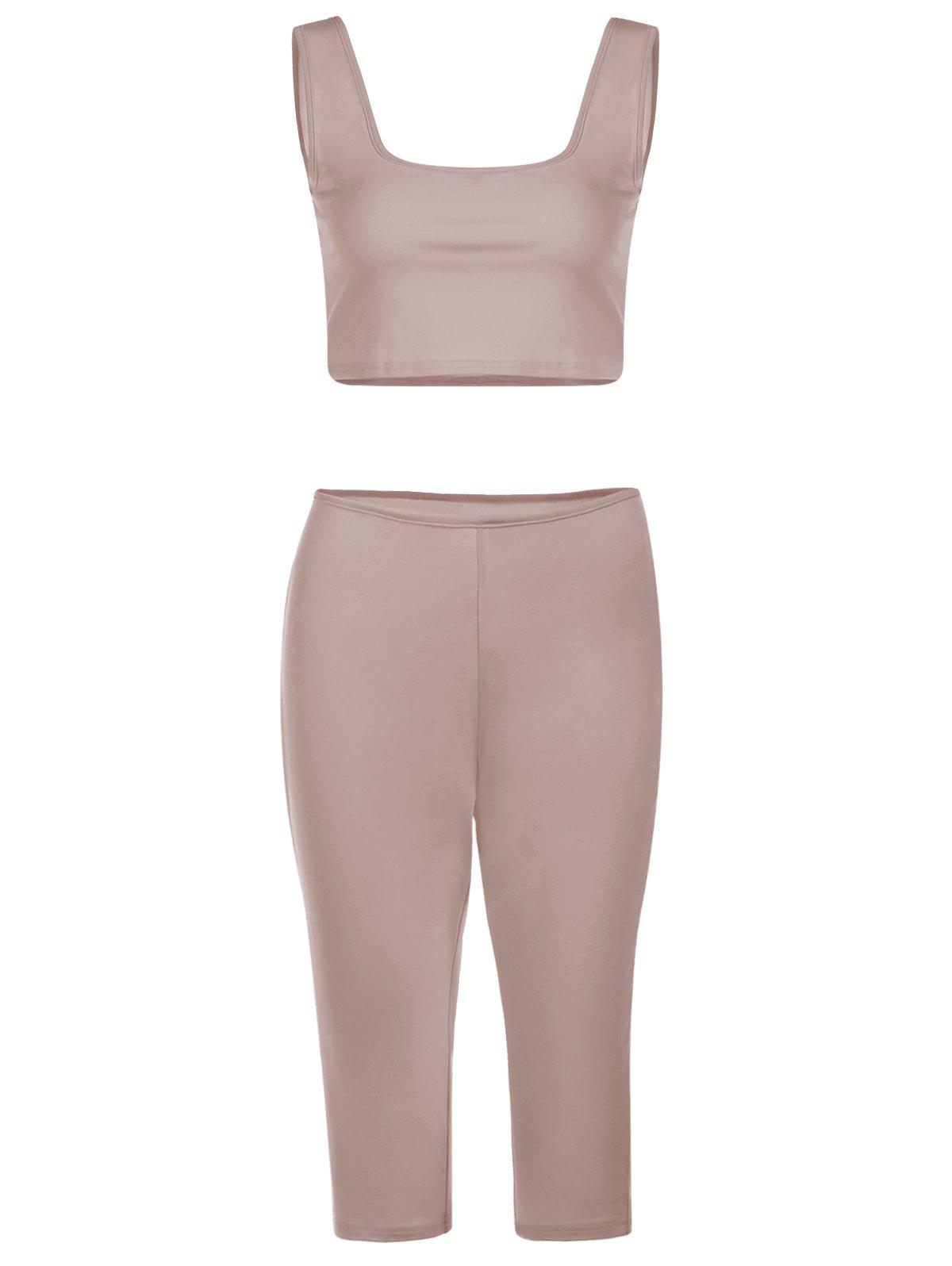 Chic Sleeveless U-Neck Crop Top + Skinny Pure Color Pants Women's Twinset - APRICOT M