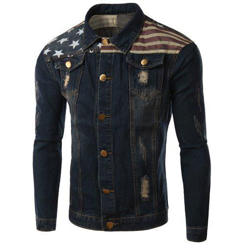 Turn-Down Collar Ripped Design Star Pattern Long Sleeve Men's Denim Jacket - BLUE 2XL