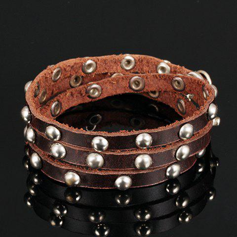 Chic Faux Leather Rivet Bracelet For Men - BROWN