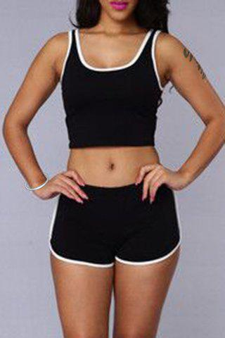 Trendy Sleeveless Scoop Neck Crop Top + Hit Color Elastic Waist Shorts Women's Twinset - BLACK M