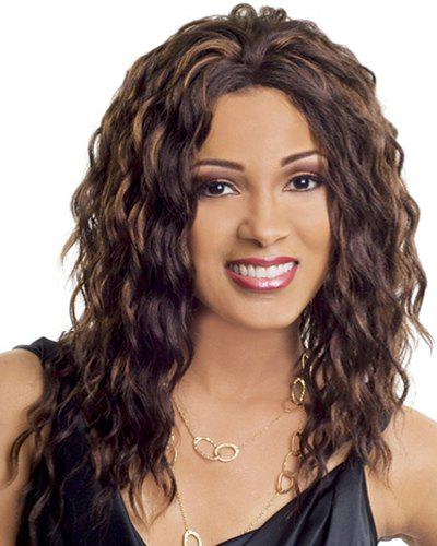 Ladylike Long Curly Heat Resistant Synthetic Wig For Women - COLORMIX