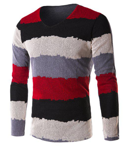 Grid Splicing Color Block Stripe V-Neck Long Sleeve Men's T-Shirt - RED M