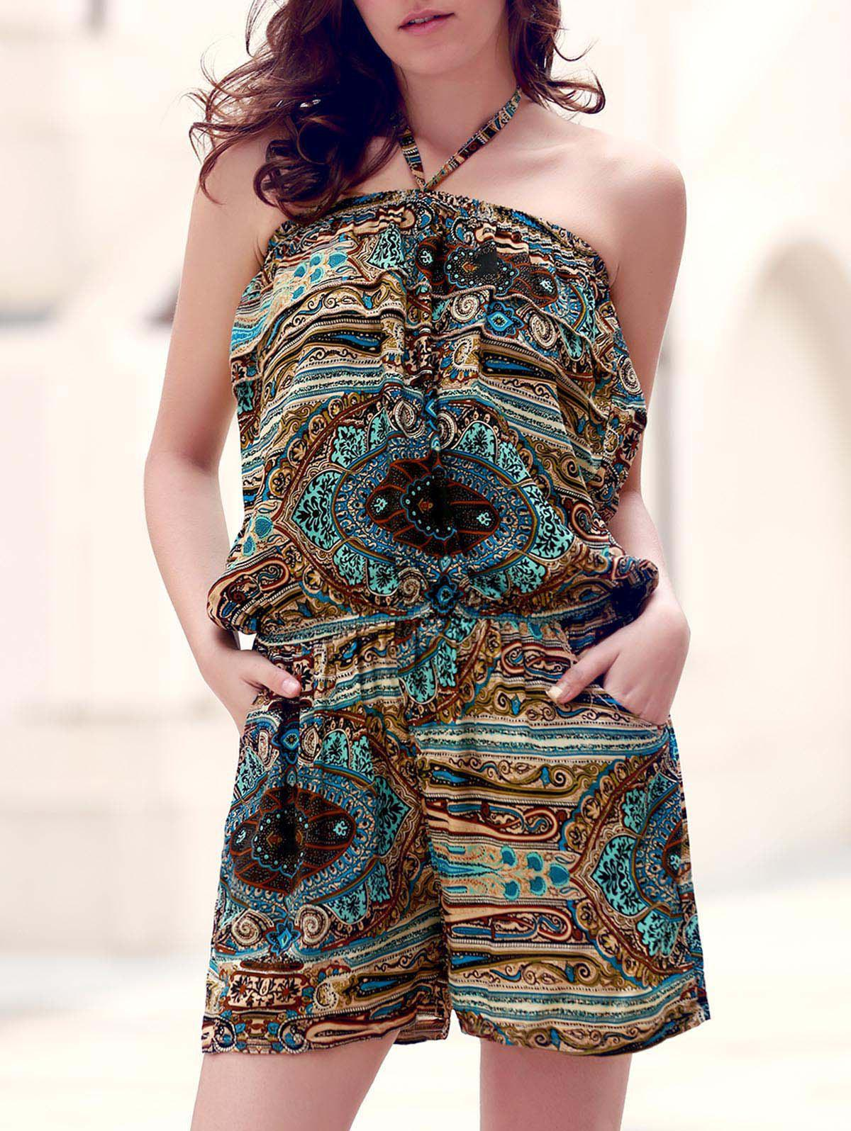 Retro Style Halter Ethnic Print Romper For Women - COLORMIX ONE SIZE(FIT SIZE XS TO M)