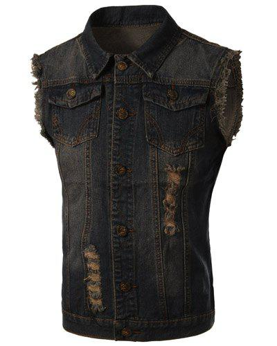 Trendy Turn-Down Collar Ripped Design Bleach Wash Sleeveless Men's Denim Waistcoat - BLUE 3XL