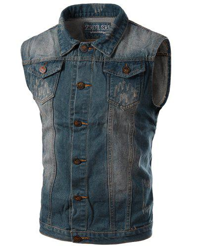 Turn-Down Collar Letters Pattern Spliced Design Sleeveless Men's Denim Waistcoat - BLUE L