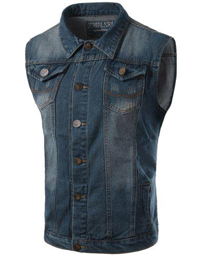 Trendy Turn-Down Collar Embroidery Pattern Sleeveless Men's Denim Waistcoat